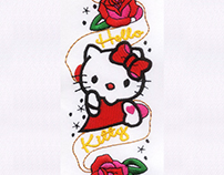 TATTOO INSPIRED HELLO KITTY APPLIQUE EMBROIDERY DESIGN