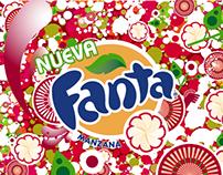Diseño de placa animada Fanta Manzana