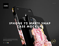 iPhone 12 Matte Snap Case 1 Mockup Set