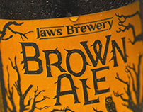 Design beer label. Brown Ale. Jaws brewery.