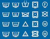 Washicons, Common Care Symbols aligned on a pixel grid