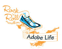 Rock n Roll Marathon T-Shirt for Adobe LIfe