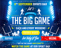 American Football The Big Game Poster, PSD Template