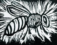 Bee: 1 color, limited edition print