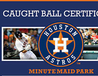 Houston Astros Caught Ball and First Game Certificates