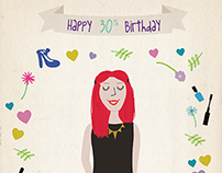 Illustrated Birthday card.