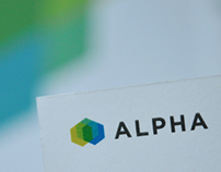 Alpha Minerals logo and stationery design