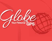 Globe app UI and brand identity.