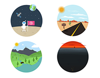 Flat Illustrations (Space, Sea, Mountains and Desert)