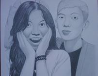Portrait Drawing of SH Prasetya and Girlfriend (CW)