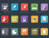 25 Business and Office Vector Flat Icons