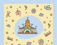 Pattern handkerchief : Amusement park