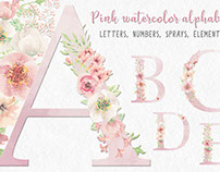 Fancy letters and numbers in pink watercolor flowers