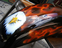 Aerografia en motocicleta Harley