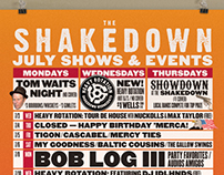 The Shakedown Monthly Calendar