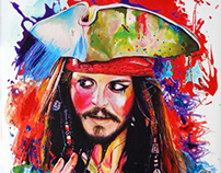 """Captain Jack Sparrow""_ mixed media canvas"