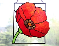 Red Poppy Blossom Stained Glass