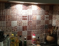 Fischer's Kitchen 2012. Hand painted majolica tiles.