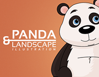 Panda & Landscape Illustration