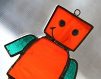 Robot Stained Glass (Orange & Teal)