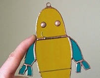 Robot Stained Glass (Blue & Yellow