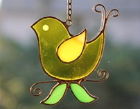 Little Bird Stained Glass in Yellow