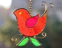 Little Bird Stained Glass in Red