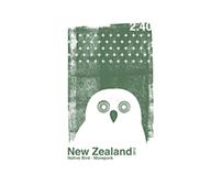 New Zealand native birds stamp set