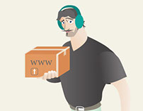 Illustration shipping box man