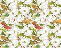 Magnolia/Birds seamless pattern