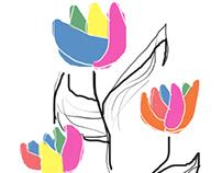 Rainbow Flower Illustrations