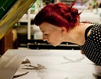 Swallows / Hand screen printed Wallpaper
