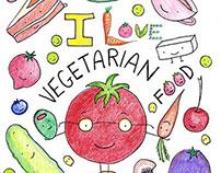 I Love Vegetarian Food - Coloring Book