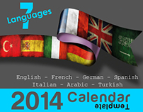 7 Languages, 2014 Calendar Print Templates