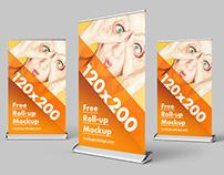 Free roll-up mockup / 120x200
