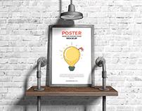 Free Poster Frame on Seamless Wood Mockup