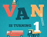 Toy Truck Birthday Invite