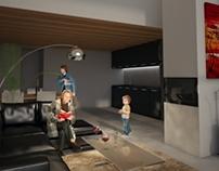 Premadame - Residential part : apartment interiors.