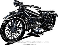 BMW R32 motorcycle vector art