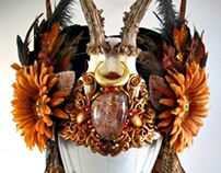 HARVEST GODDESS - Roe Deer Antler Headdress