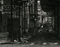 """Intersection,"" 4 x 9 in, Drawing in Ink, 2013"