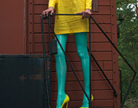 Jade green latex stockings