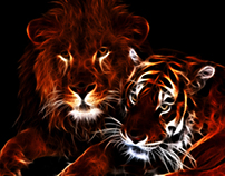 Glowing Lion & Tiger