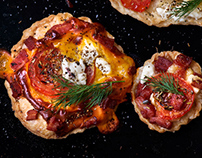 Brie, feta, bacon and tomato tarts