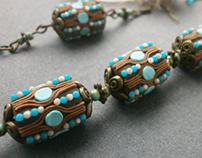 Necklaces and earrings made of polymer clay