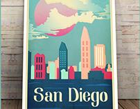 San Diego Vintage Poster