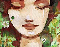 "Giclee Art Print, size 22x32 cm. woman ""rp 15"" maroon"