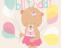 Greeting card: Bear cub birthday