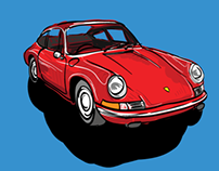 Iconic Classic cars in Cartoon style