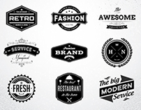 10 Retro badges & logos vol.1, PSD Template